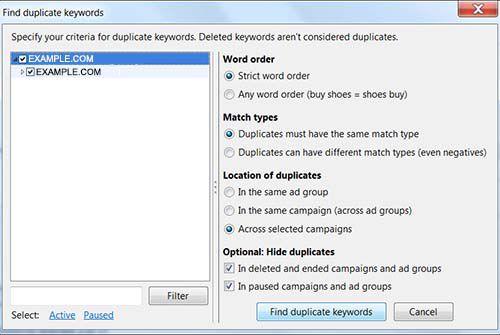 How to use AdWords Editor 11.2 to find duplicate keywords