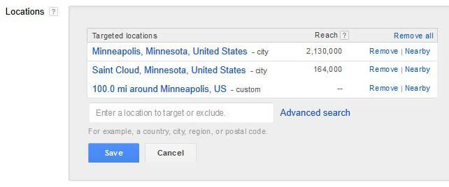 how to target locations for AdWords campaigns