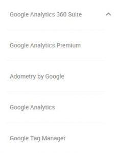 Various Google Analytics Account Types
