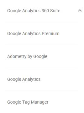 Various Google Analytics Account Types