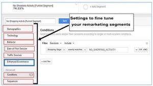 eCommerce marketing settings in Google Analytics