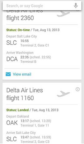 Example of Google Now Cards for a flight-reservation confirmation