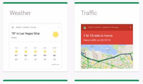 New Google Now Card Category Interest Options