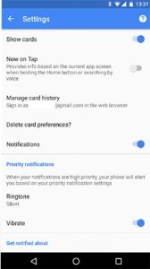 Settings for Google Now Cards