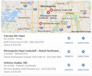 Google business listing for Minneapolis heart surgeons