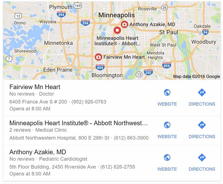 Google business listing for Minneapolis heart surgeons