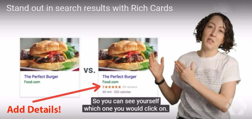 rich cards show more things and fewer links