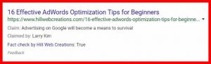 fact check example for Adwords optimization tips