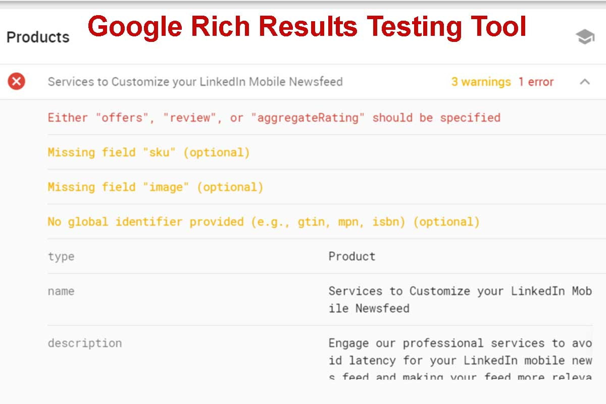 Product Markup Error and Warnings Report