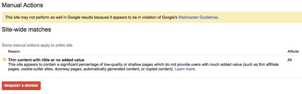 Google manual penalty due to thin content