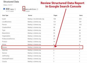 How to check your review structured data in your Google Search Console