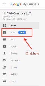 Google Posts dashboard