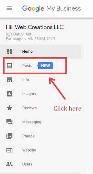 Google Posts dashboard