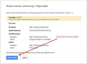 Google Search Console tests review structured data markup