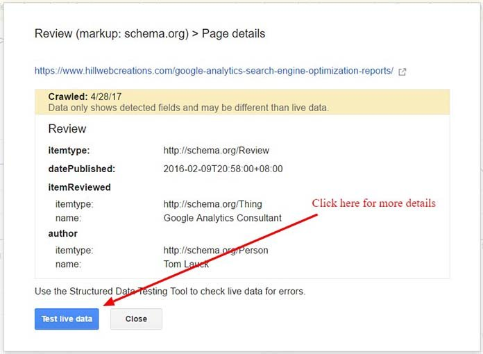 Google Search Console test-review structured data markup