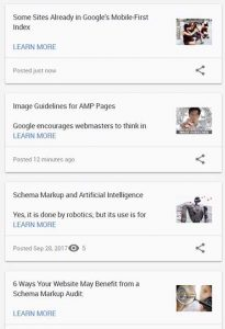 List of publication on Google Posts