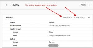 Review markup errors and warnings found in the Google Structured-Data Testing Tool