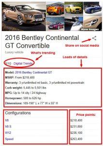 buyer details Bentley controvertible in Google Knowledge Graph
