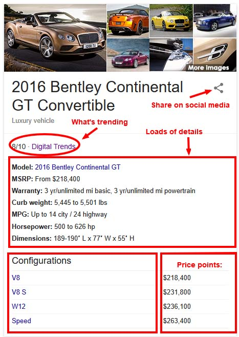 buyer details Bentley controvertible in Google Knowledge Graph