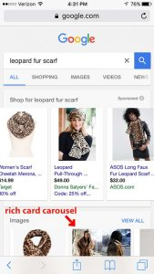 Example of Google Rich Cards Carousel for Products