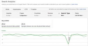 Search Analytics Tool: comparing page positions