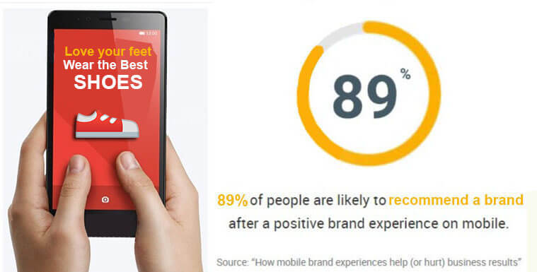89 percent of people recommend brands after great mobile experience