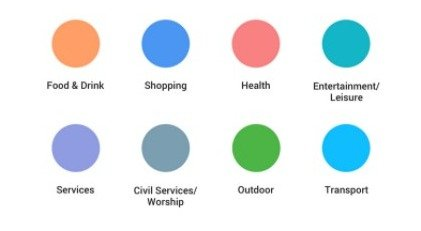 Google Maps legend color codes to help identity landmark structures