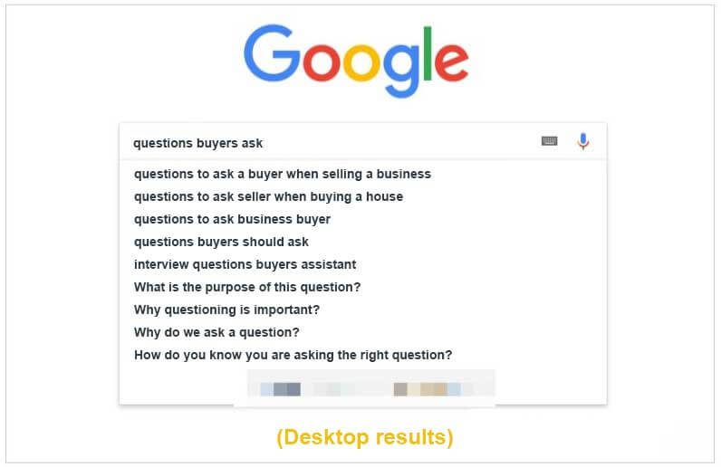 Google answer engine and how to find user's questions in Google auto-complete search on desktop