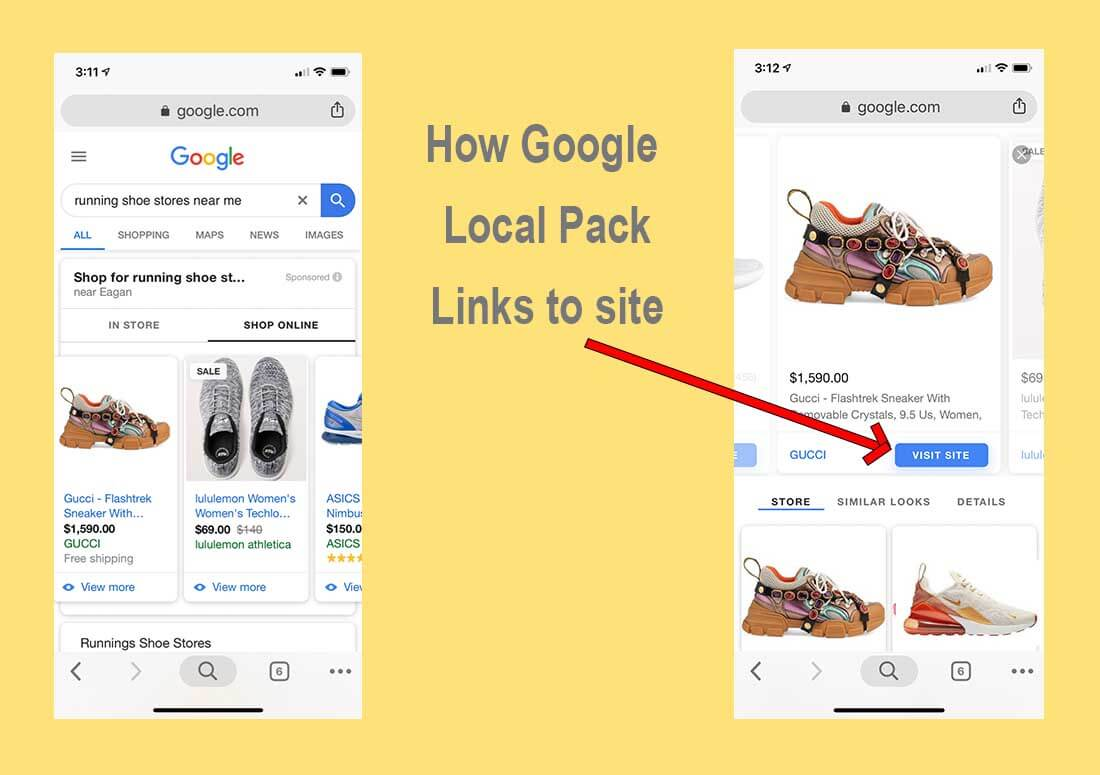 Where the Google Local Pack leads to a product link on your website.
