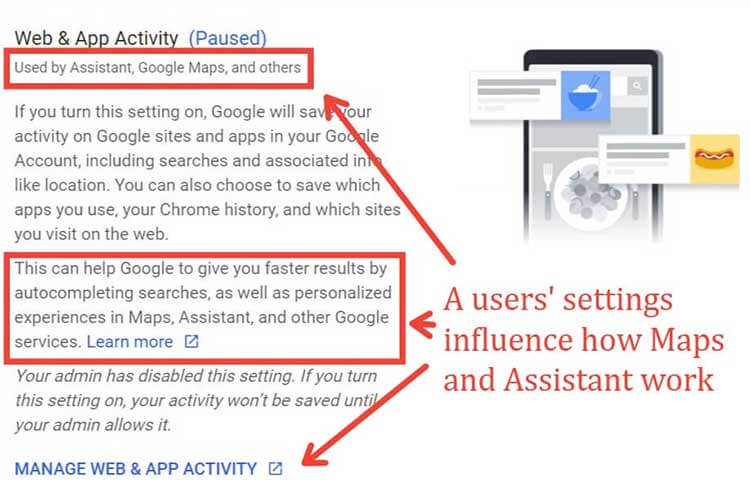 User settings influence how Google Maps works