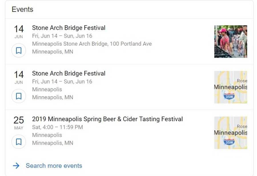 Local Featured Events Zero Position Box