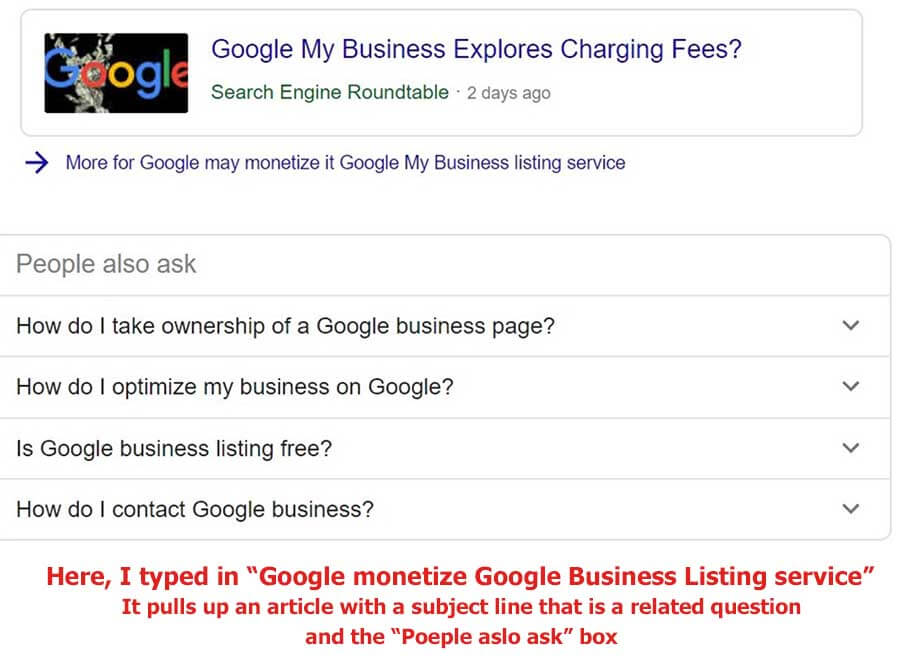 "Example of a ""People also ask"" box in Google featured SERPs"