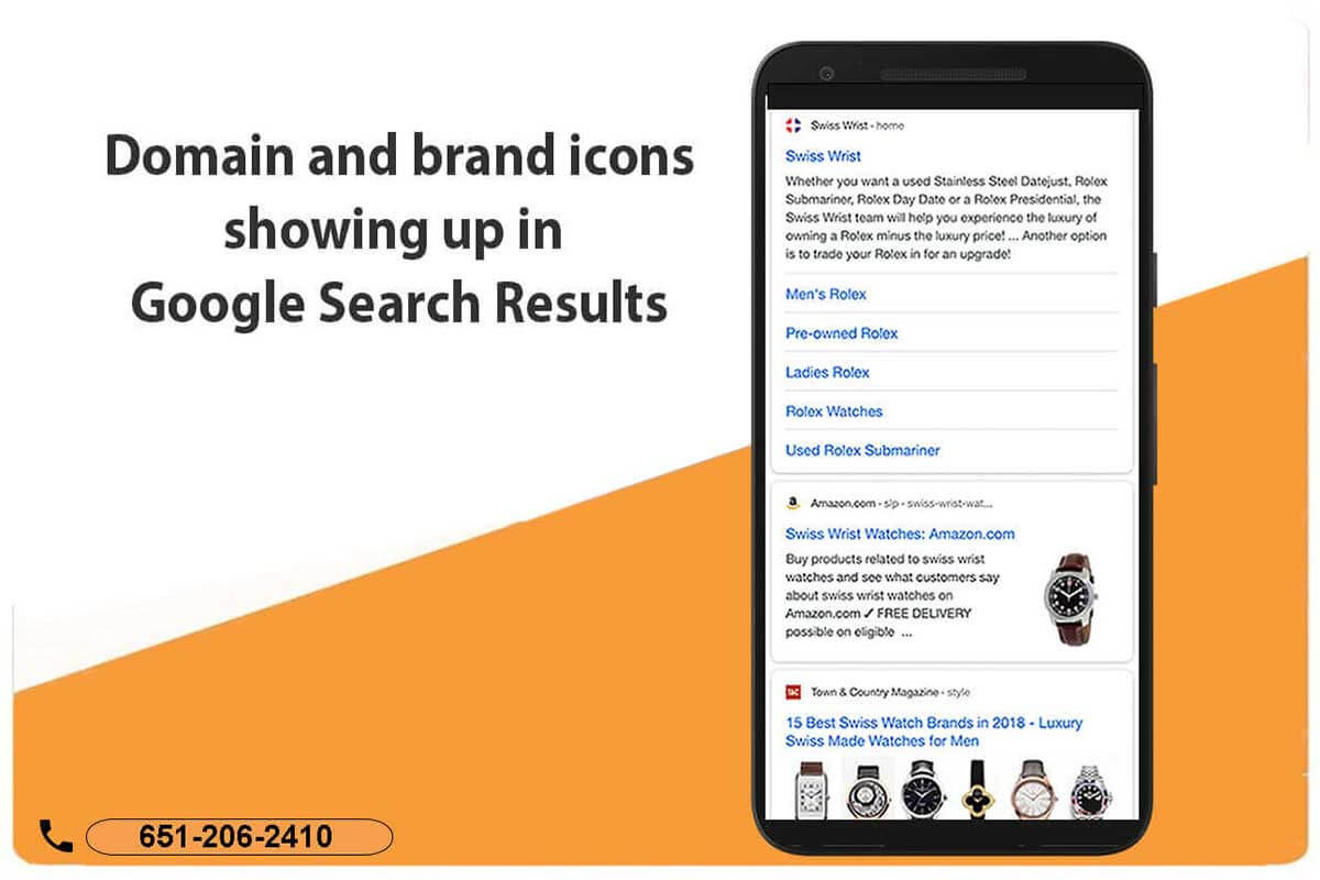 Icons from domains and brands now showing up in both mobile and desktop Google search results