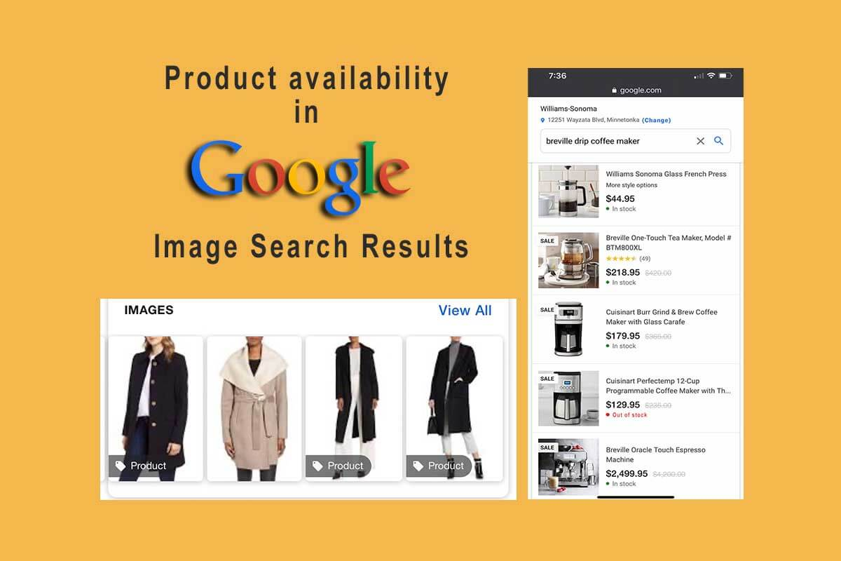 Google Image-driven Shopping shows product availability, prices, sale items, and more